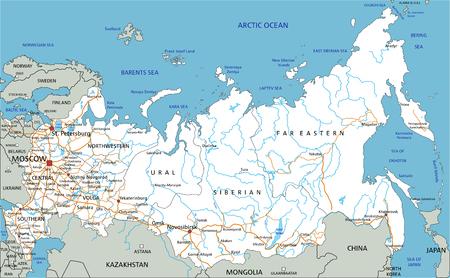 Alta hoja de ruta detallada de Rusia con etiquetado. Ilustración de vector