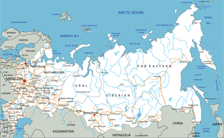High detailed Russia road map with labeling. Ilustração Vetorial