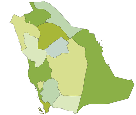 Highly detailed editable political map with separated layers. Saudi Arabia.