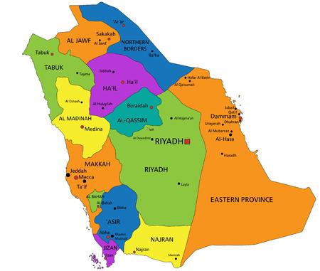 Bunte politische Karte Saudi-Arabiens mit klar beschrifteten, getrennten Schichten. Vektor-Illustration. Vektorgrafik