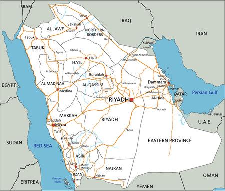 Hochdetaillierte Saudi-Arabien-Straßenkarte mit Beschriftung. Vektorgrafik