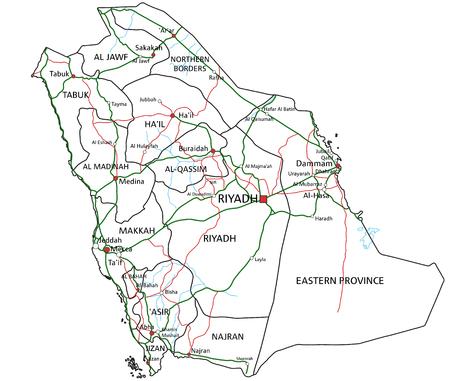 Straßen- und Autobahnkarte von Saudi-Arabien. Vektor-Illustration.