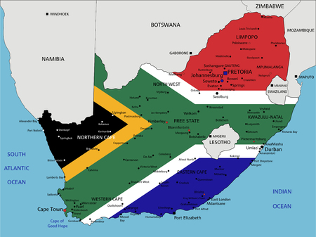 South Africa highly detailed political map with national flag. Illustration