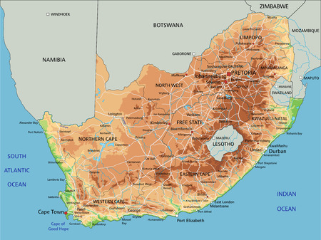 High detailed South Africa physical map with labeling.