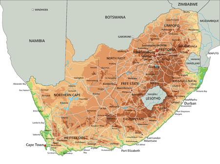 Carte physique très détaillée de l'Afrique du Sud avec étiquetage.