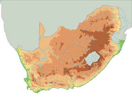 High detailed South Africa physical map.