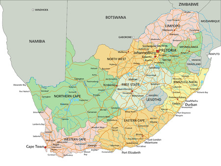 South Africa - Highly detailed editable political map with labeling.