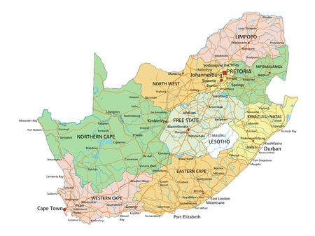 Südafrika - Sehr detaillierte bearbeitbare politische Karte mit Beschriftung.
