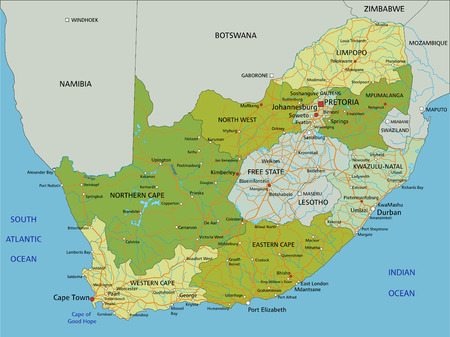 Highly detailed editable political map with separated layers. South Africa. Illustration