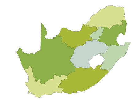 Highly detailed editable political map with separated layers. South Africa. Ilustração