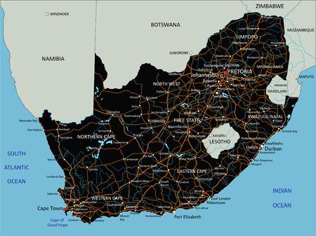 Hochdetaillierte Südafrika-Roadmap mit Beschriftung.