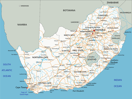 High detailed South Africa road map with labeling. Illustration