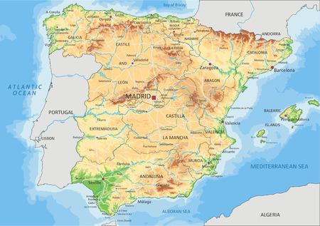 Hochdetaillierte physische Karte Spaniens mit Beschriftung.