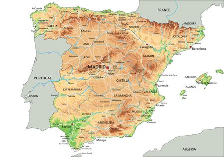 Mappa fisica della Spagna molto dettagliata con etichettatura. Vettoriali