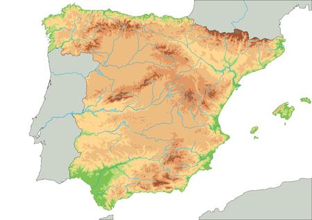 Alto mapa físico detallado de España.