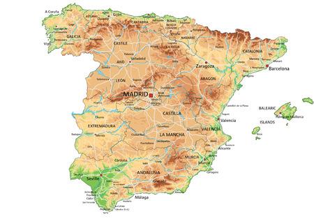 Mappa fisica della Spagna molto dettagliata con etichettatura.