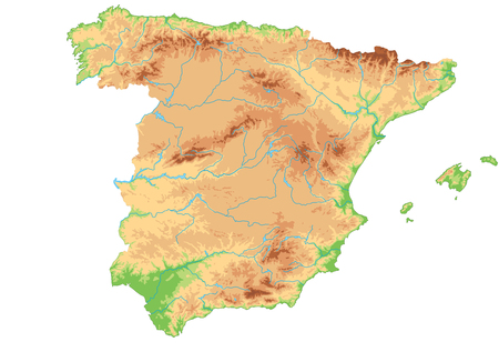High detailed Spain physical map. 免版税图像 - 122716325