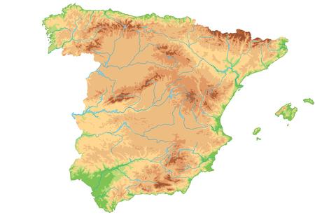 Hochdetaillierte physische Karte von Spanien.