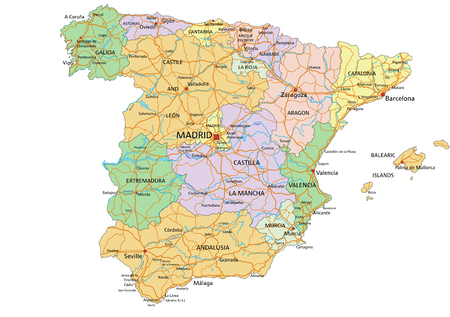 Spain - Highly detailed editable political map with labeling.