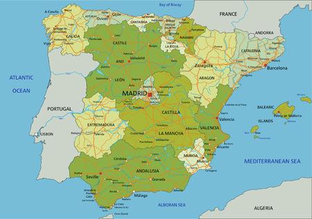 España: mapa político editable muy detallado con capas separadas. Ilustración de vector