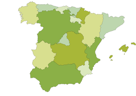 Spain - Highly detailed editable political map with separated layers. Иллюстрация