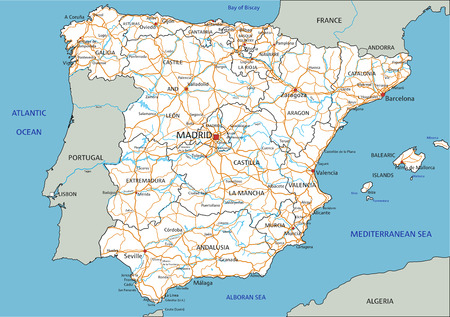 High detailed Spain road map with labeling. Иллюстрация
