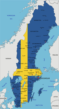Sweden highly detailed political map with national flag isolated on white background.
