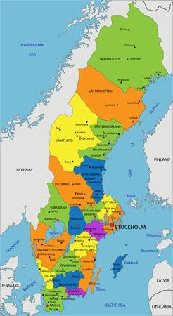 Kleurrijke politieke kaart van Zweden met duidelijk gelabelde, gescheiden lagen. Vector illustratie.