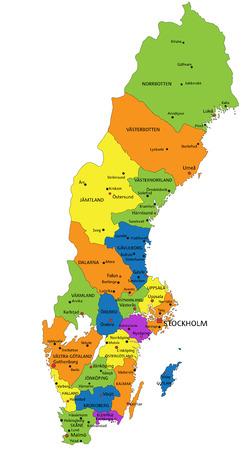 Bunte politische Karte Schwedens mit klar beschrifteten, getrennten Schichten. Vektor-Illustration.