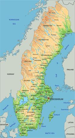 Hochdetaillierte physische Schwedenkarte mit Beschriftung.