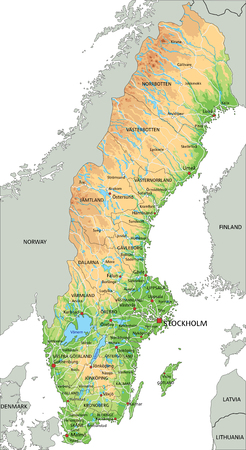 High detailed Sweden physical map with labeling.