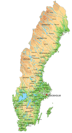 Szczegółowa mapa fizyczna Szwecji z etykietą. Ilustracje wektorowe