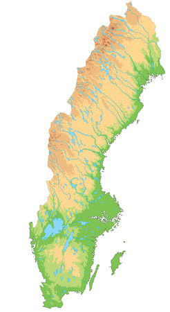 High detailed Sweden physical map.