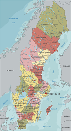 Sweden - Highly detailed editable political map with labeling. Illustration