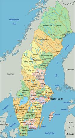 Szwecja - bardzo szczegółowa, edytowalna mapa polityczna z etykietami.