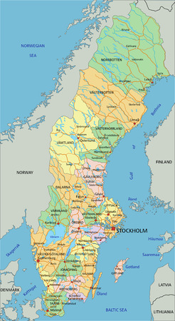 Zweden - Zeer gedetailleerde bewerkbare politieke kaart met etikettering.