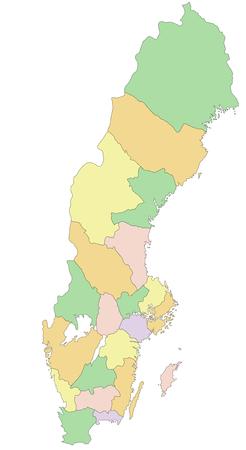 Sweden - Highly detailed editable political map. Illustration