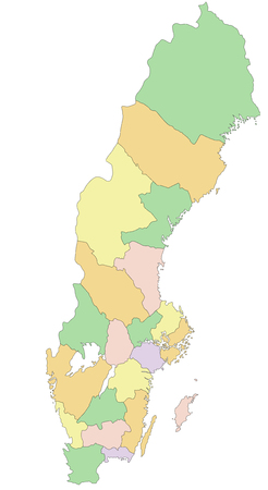 Sweden - Highly detailed editable political map.
