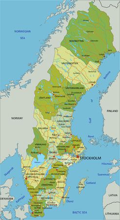 Highly detailed editable political map with separated layers. Sweden. Vektorgrafik