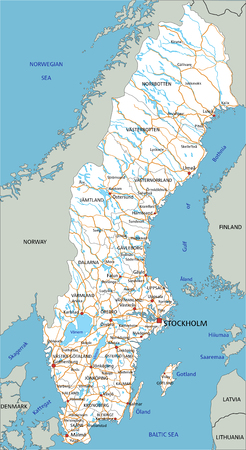 High detailed Sweden road map with labeling.