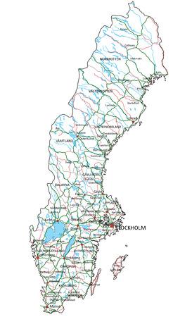 Sweden road and highway map. Vector illustration.