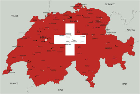 Switzerland highly detailed political map with national flag. 向量圖像