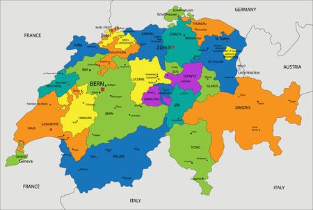 Colorido mapa político de Suiza con capas separadas y claramente etiquetadas. Ilustración de vector.