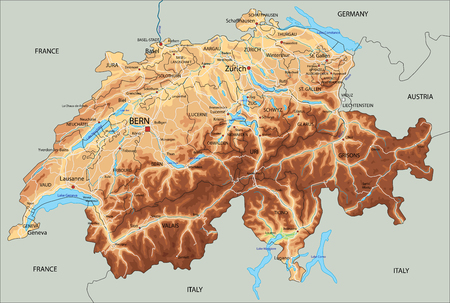 High detailed Switzerland physical map with labeling. Banque d'images - 122716369