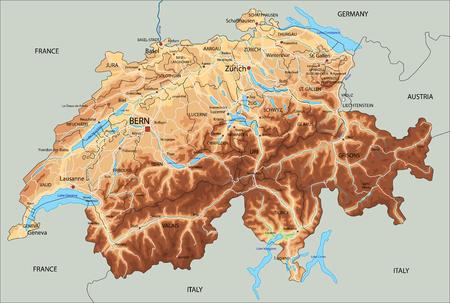 Hochdetaillierte physische Karte der Schweiz mit Beschriftung.