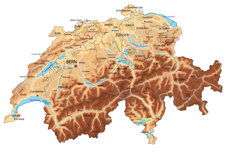 High detailed Switzerland physical map with labeling. Banque d'images - 122716372