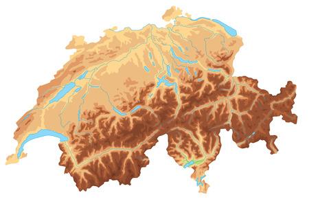Alto mapa físico detallado de Suiza. Ilustración de vector