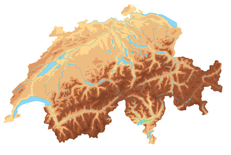 High detailed Switzerland physical map.