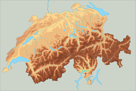 High detailed Switzerland physical map. Banque d'images - 122716375