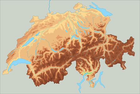 Hochdetaillierte physische Karte der Schweiz.